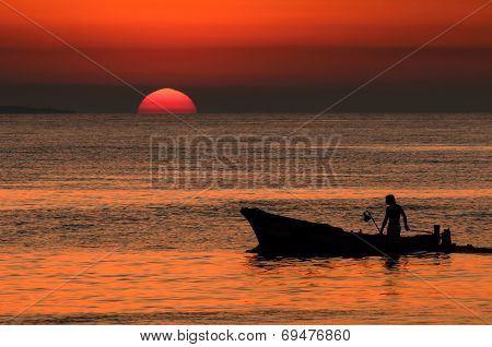 Fisherman returning home from fishing