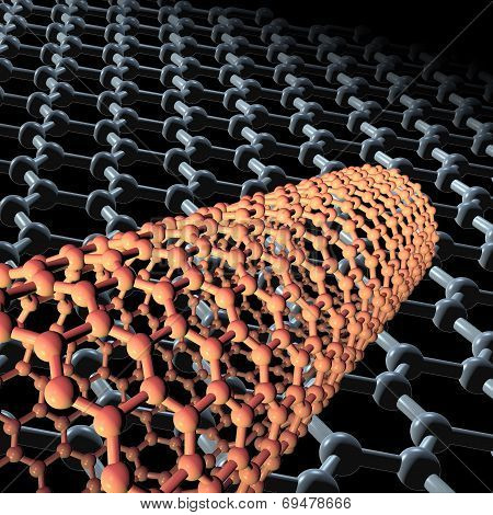3d Carbon nanotubes on dark background