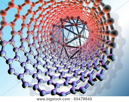 Nanotechnology scene, computer artwork