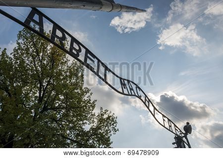 The Entrance To Auschwitz Ii Concentration Camp In Brzezinka, Poland.