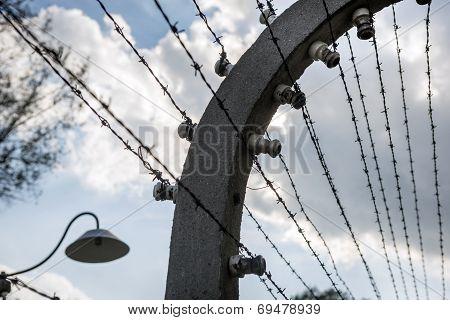 Electrified Barbed-wire Fences In Auschwitz Ii-birkenau Camp In Brzezinka, Poland.