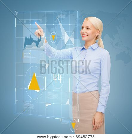 business, future, technology and people concept - smiling young businesswoman working with virtual screen