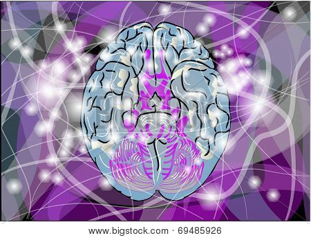 brain activity. abstract brain with multicolor line and light poster