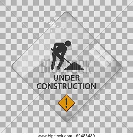 Under construction glass vector illustration