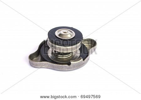 Radiator Cap With Warning Label Isolated On White Background