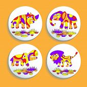 Set of buttons with psychedelic animals of Africa: elephant, rhino, lion, hippo. Eps 10/ poster