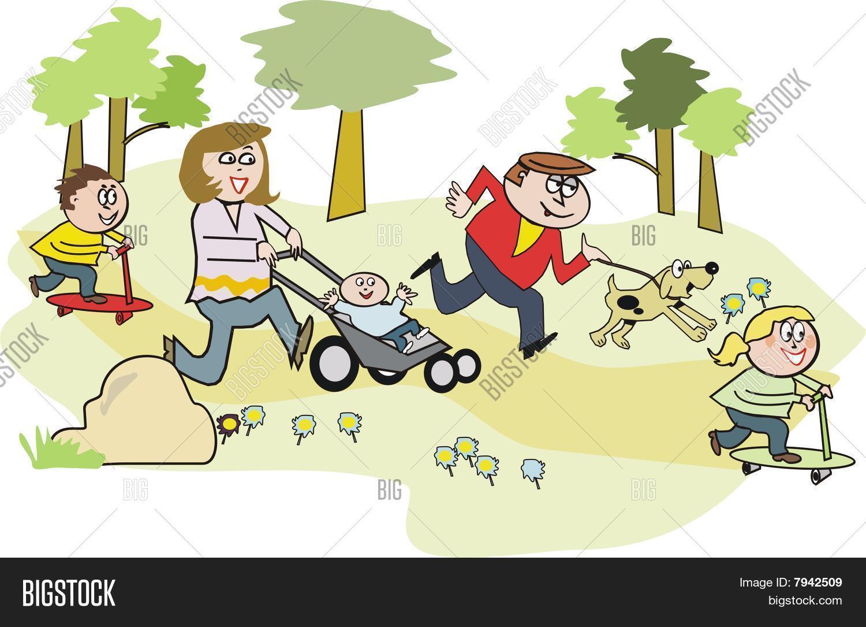 Vector Y Foto Familia Feliz En Dibujos Animados