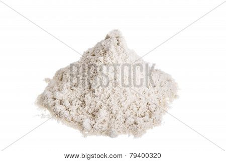 Pile Milk Whey Protein. On A White Background.
