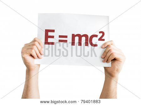 E = mc2 card isolated on white background