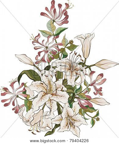 Bunch of lilies and honeysuckle isolated on white background