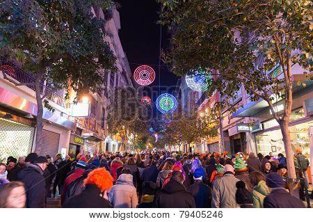 Crowd On Calle De La Montero Leaving Puera Del Sol