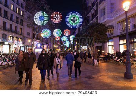 Tourists Walking On Calle De La Montera