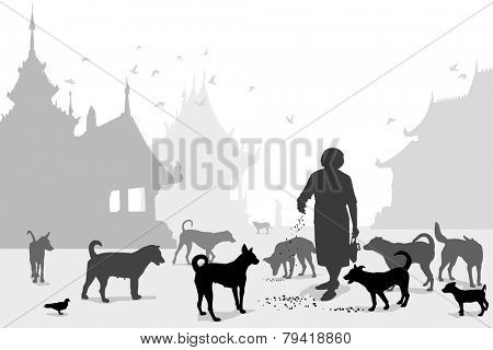 Editable vector illustration of a woman feeding stray dogs in a Buddhist temple where many abandoned pets end up