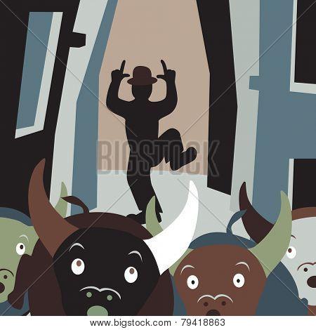 Editable vector cartoon illustration of bulls running away from a man in a street festival
