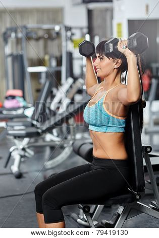 Young fitness woman doing shoulders and triceps workout in a gym with dumbbells poster