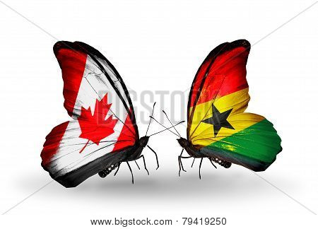 Two Butterflies With Flags On Wings As Symbol Of Relations Canada And Ghana