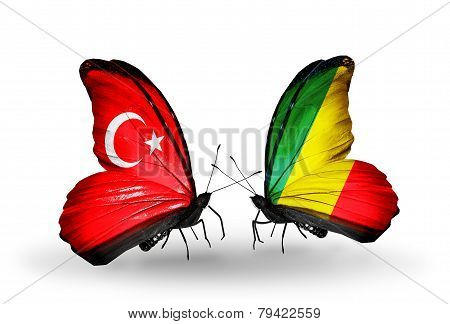 Two Butterflies With Flags On Wings As Symbol Of Relations Turkey And Kongo