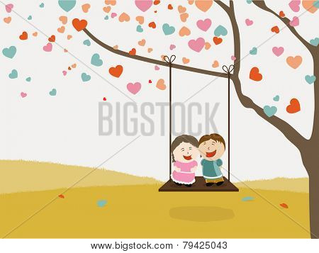 Cute happy kids swinging on hearts decorated tree for Happy Valentine's Day celebration.