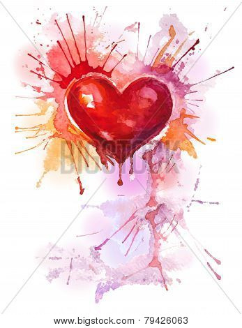 Vertical background with red watercolor heart