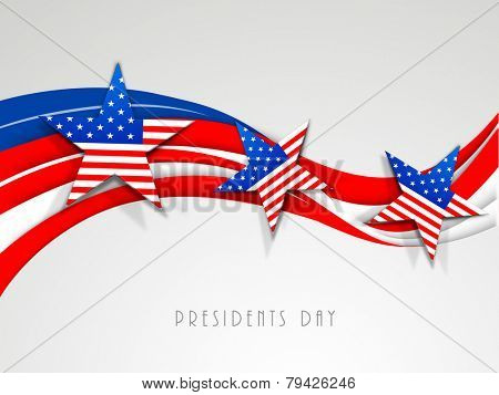 Happy Presidents Day celebration with United State of American flag color waves and stars on shiny grey background.