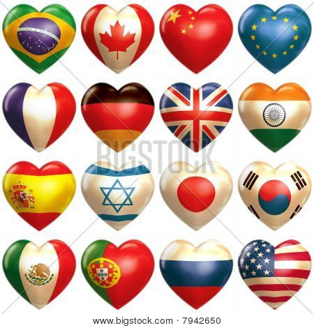 16 countries hearts in 3d