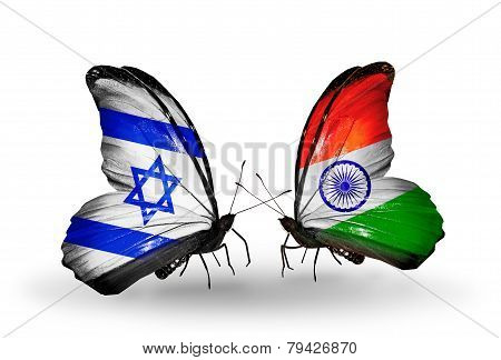 Two Butterflies With Flags On Wings As Symbol Of Relations Israel And India