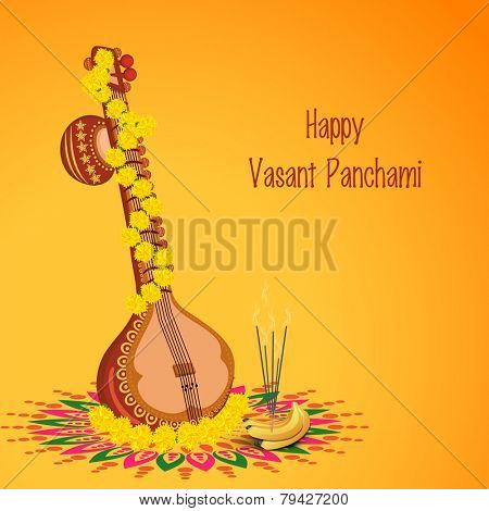 Traditional musical instrument Veena with religious offerings on rangoli for Hindu Community festival, Vasant Panchami celebration. poster