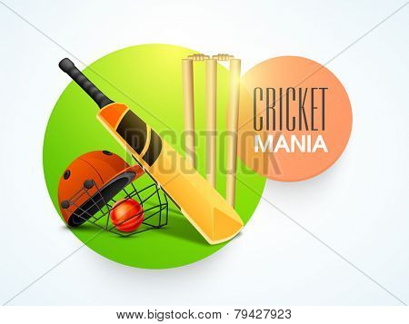 Stylish sticky design with bat, red ball, helmet and wicket stumps for Cricket Mania.