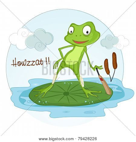 Cute cartoon of a frog holding a cricket bat for showing Howzat.
