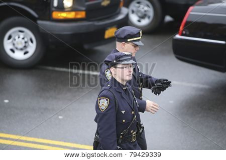 NYPD motor officers arrive