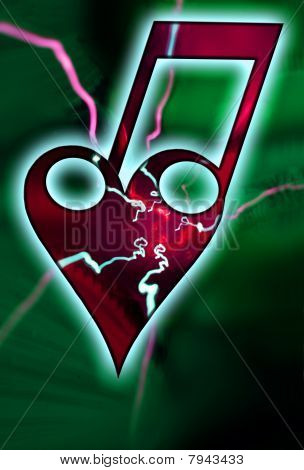 A bond of a heart with two notes and lightings. The love of music, symbol an green background