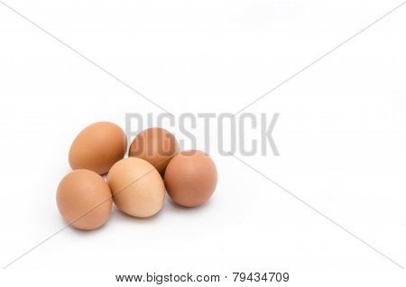Five Eggs On White Background