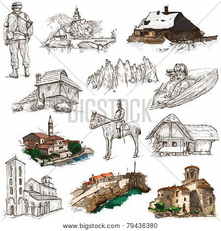 Former Republics Of Yugoslavia - Drawings On White