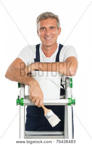 Portrait Of Happy Mature Painter With Stepladder And Paint Bucket Isolated On White Background