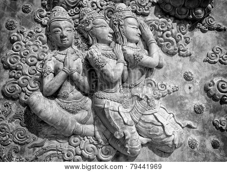 Decorative Lintel In Black And White, Thailand
