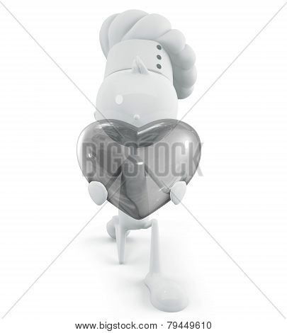 White Chef Character With Transparent Heart