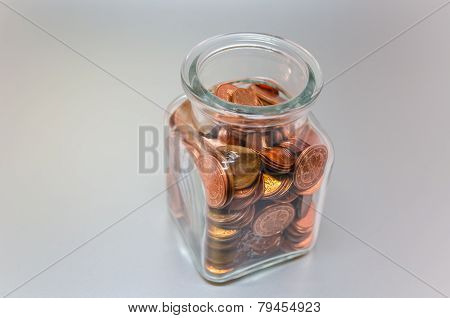 Glass With Cent Pieces