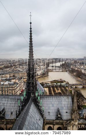 View of Seine river from the top of Notre-Dame Cathedral