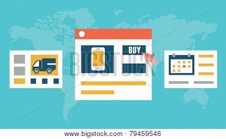 Vector Flat Illustration Of Internet Order And Delivery. E-market