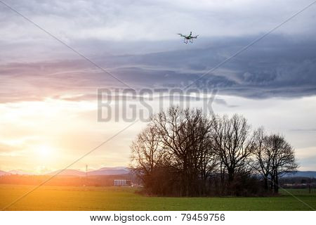Drone Watching The Sunset