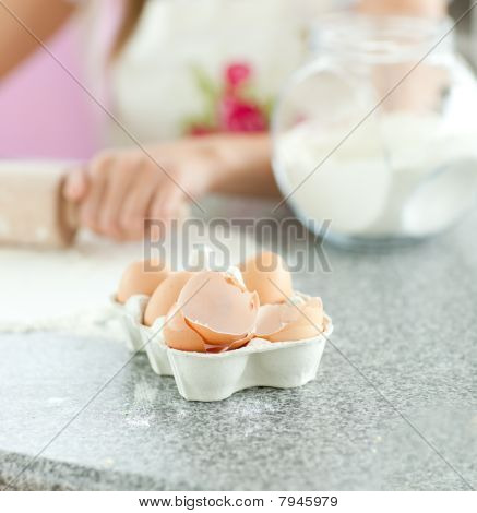 Close-up Of Broken Eggs In The Kitchen