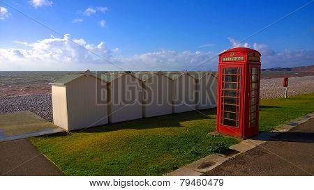 Phone Box On A Beach