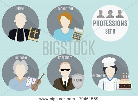 Profession people. Set 8. Flat style icons in circles poster