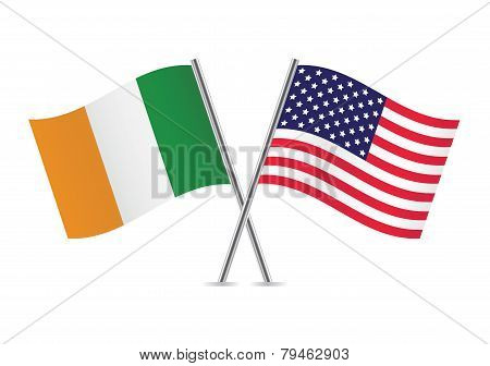 American and Irish flags. Vector illustration.