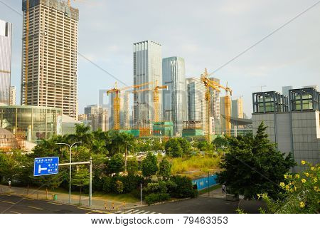 SHENZHEN - OCT 20: ShenZhen downtown on October 20, 2014 in Shenzhen, China. ShenZhen is regarded as one of the most successful Special Economic Zones.