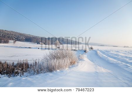 idyllic winter landscape in Thuringia with a frozen pond poster