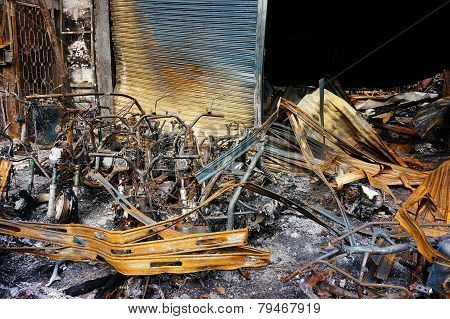 Horror Fire, Burned Vehicle, Ho Chi Minh City