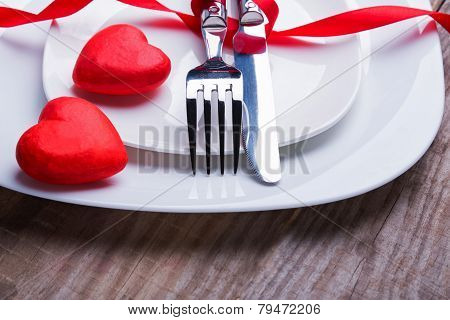 Valentine's Day Table Setting Concept.