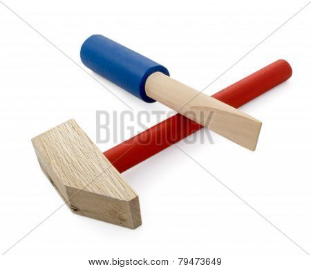 Wooden Hammer And Screwdriver