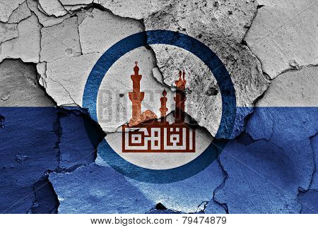 Flag Of Cairo Painted On Cracked Wall